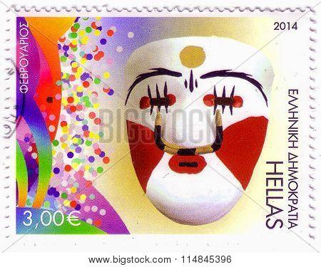 Greece - Circa 2014: A Stamp Printed In Greece Showing Mask, Circa 2014