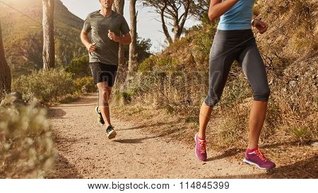 Trail Running On A Mountain Path