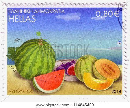 Greece - Circa 2014: A Stamp Printed In Greece, Shows Watermelon And Melon Fruits, Circa 2014