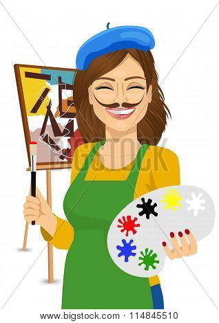 cute female artist with funny mustache painting with colorful palette