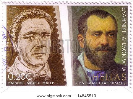 Greece - Circa 2015: A Stamp Printed In Greece Shows Centenary Journalists Union - Ioannis Iakovos M