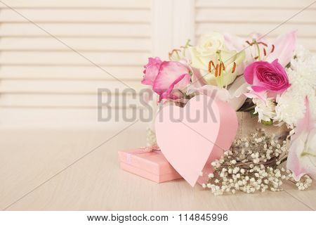 Flowers And Valentines Day Card