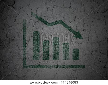 Business concept: Decline Graph on grunge wall background