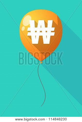 Long Shadow Balloon With A Won Currency Sign