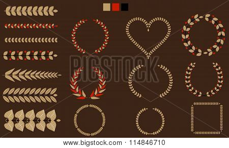 Set of Wreaths, branches, leaf with flat tricolor. Vector illustration.