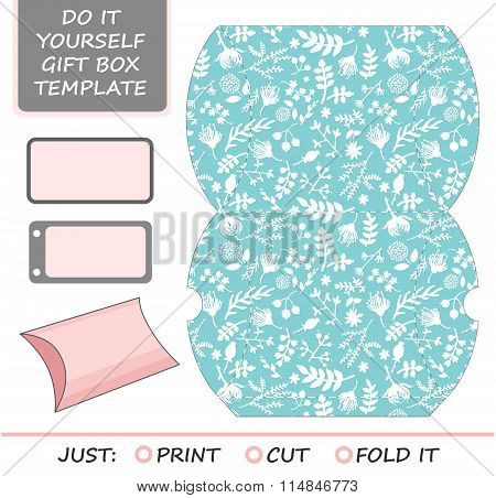 Favor, gift box die cut. Box template