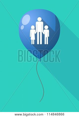 Long Shadow Balloon With A Male Single Parent Family Pictogram