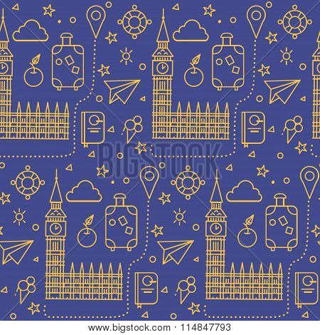 London Seamless Pattern With Big Ben, Parliament Building And Travel Elements