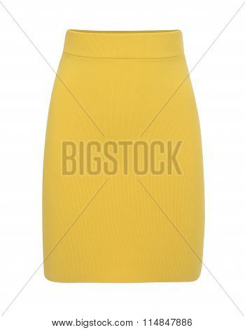 Cut-out Of Plain Yellow Mini Skirt On Invisible Mannequin
