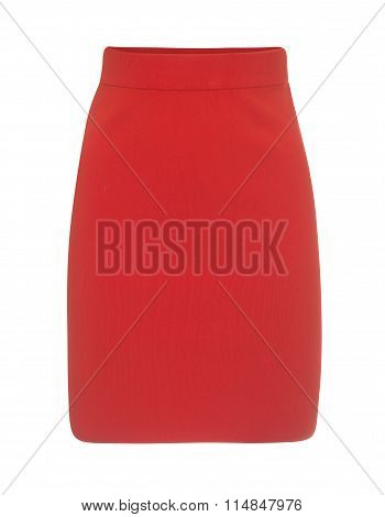 Cut-out Of Plain Red Mini Skirt On Invisible Mannequin