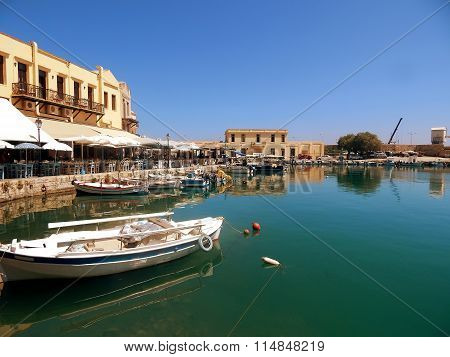 A View Of The Port , The Town Of Rethymno, Crete, Greece.