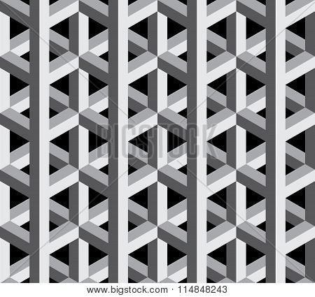 Vector modern seamless sacred geometry pattern 3d black and white abstract