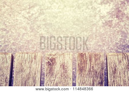 Vintage Toned Old Wooden Pier On Ice, Space For Text.