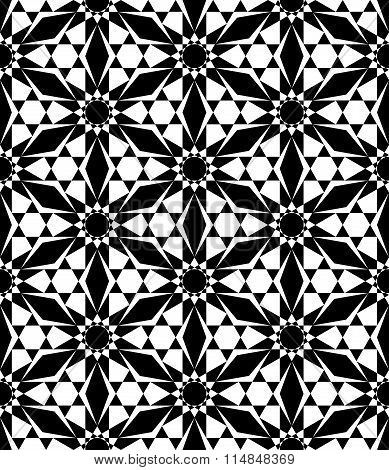 Vector modern seamless sacred geometry pattern floral black and white abstract