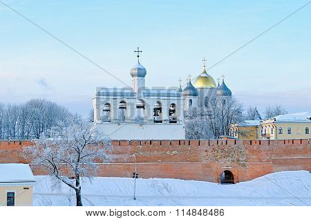 St. Sophia Cathedral In Veliky Novgorod, Russia - Winter Architectural Landscape