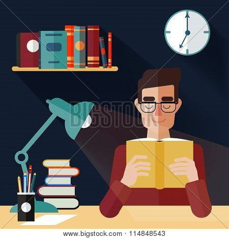 Concept Of Reading Books. Man Reading Book At Home