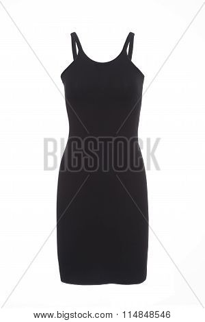 Plain Black Strap Dress On Invisible Mannequin Over White Background