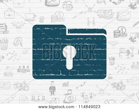 Business concept: Folder With Keyhole on wall background