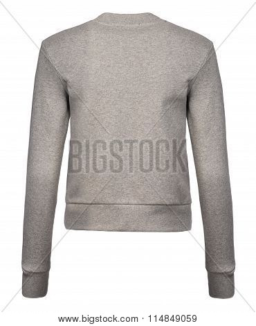 Rear Cut-out Of Light Grey Ladies' Sweatshirt On Invisible Mannequin