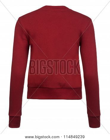 Rear Cut-out Of Plain Maroon Sweater On Invisible Mannequin