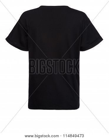 Rear Cut-out Of Plain Black Shirt On Invisible Mannequin