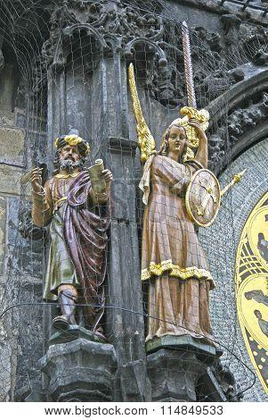 Prague, Czech Republic - April 15, 2010: Statues On Prague Astronomical Clock (prague Orloj) On The