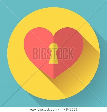 Vector heart with keyhole icon