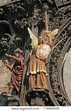 Prague, Czech Republic - April 19, 2010: Statues On Prague Astronomical Clock (prague Orloj) On The