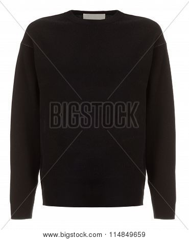 Cut-out Of Plain Black Long-sleeved Shirt On Invisible Mannequin