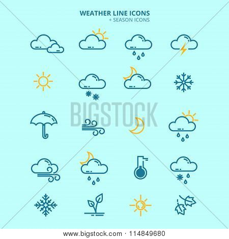 Forecast Weather And Seasonable Icons Set