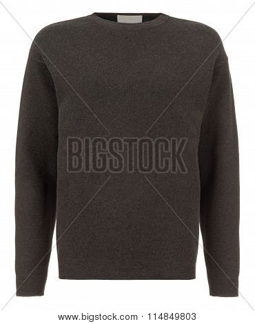 Cut-out Of Plain Dark Grey Long-sleeved Shirt On Invisible Mannequin