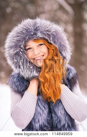 Beauty Woman Having Fun Outside On Winter Snowy Day