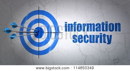 Security concept: target and Information Security on wall background