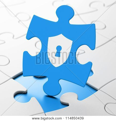 Privacy concept: Shield With Keyhole on puzzle background