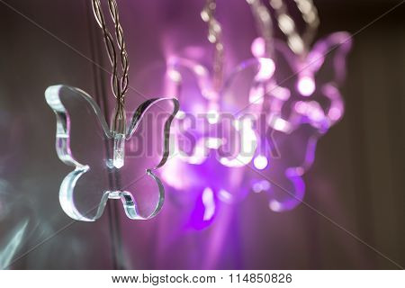 Close-up Of Illuminated Crystal Butterfly Light
