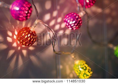 Close-up Of Illuminated Christmas Ball Light