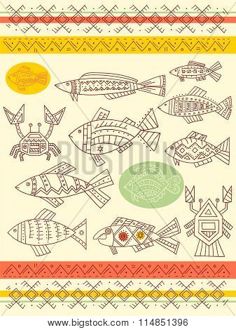 Collection of vector ethnicity patterns with fish, crab and cancer