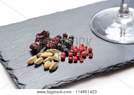 gin and tonic ingredients on piece of slate