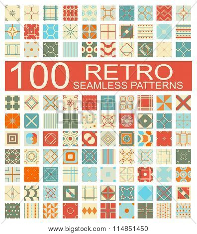 Set of 100 retro different vector geometric seamless patterns (tiling) of blue, orange, red, ivory and  pink colors. Endless texture can be used for web page background, surface and textile textures,