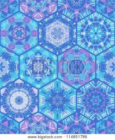 Seamless Blue Hexagons Background.