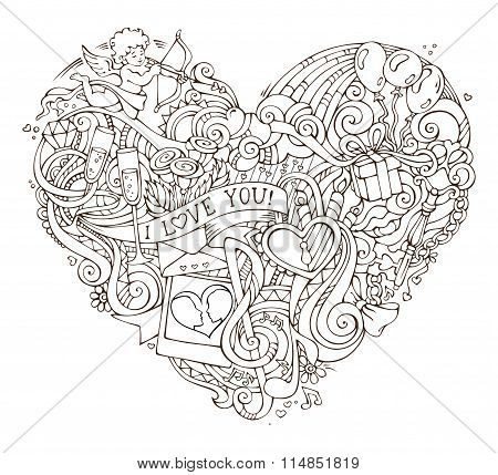 Love Poster Template With Hand-drawn Doodles Elements.