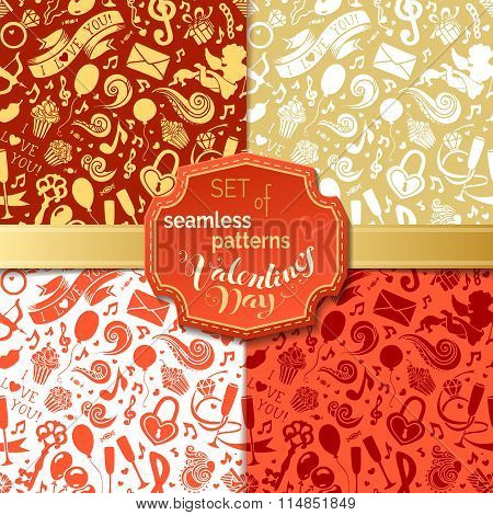 Vector Set Of Seamless Patterns For Valentine's Day.