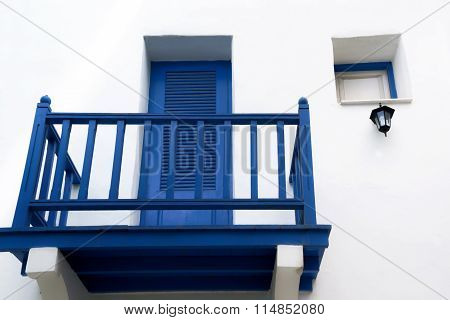 A Small Terrace On White Wall