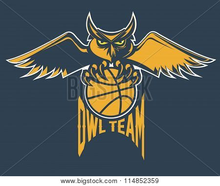 Sport Basketball Emblem Owl Team