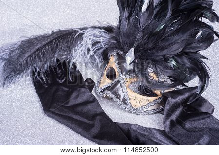 Wooden Carnival Mask With Feathers On Glitter