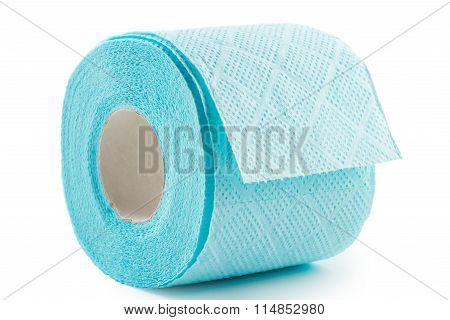 Blue Toilet Paper On White