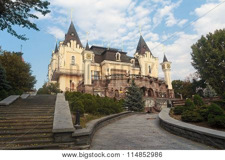 Kiev, Ukraine - September 03, 2015: Building children's puppet theater in the form of a castle