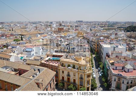 View to the street and buildings of Seville, Spain.