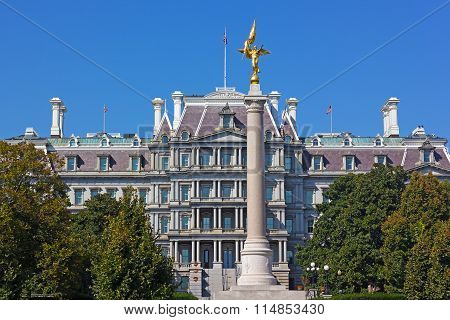 The First Division Monument and The Eisenhower Executive Office Building in Washington DC.