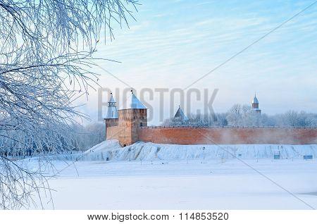 Novgorod Kremlin In Veliky Novgorod, Russia In Winter Foggy Day